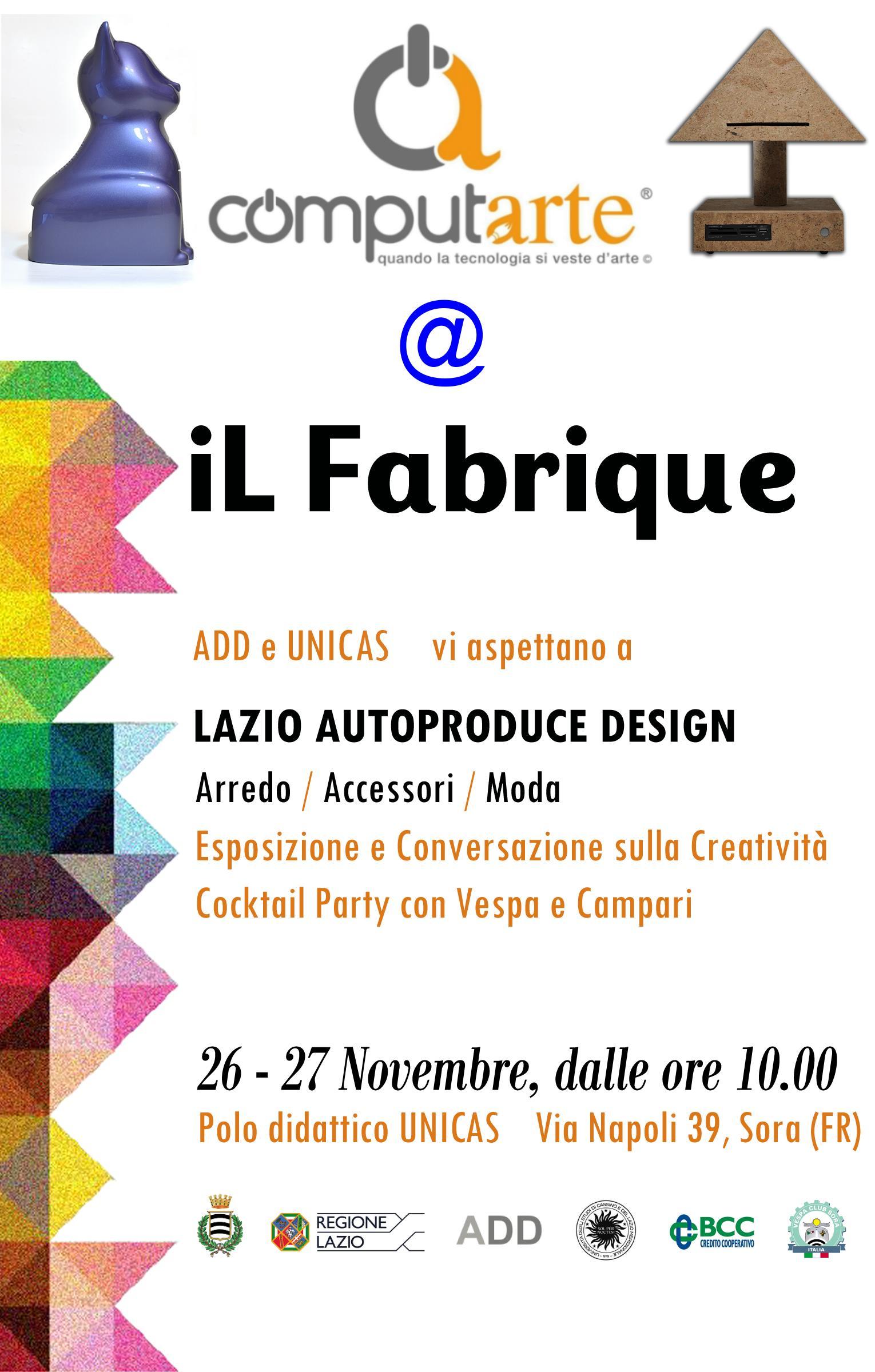 Il Fabrique : Lazio Autoproduce Design – 26 e 27 Novembre 2016 a Sora (FR)